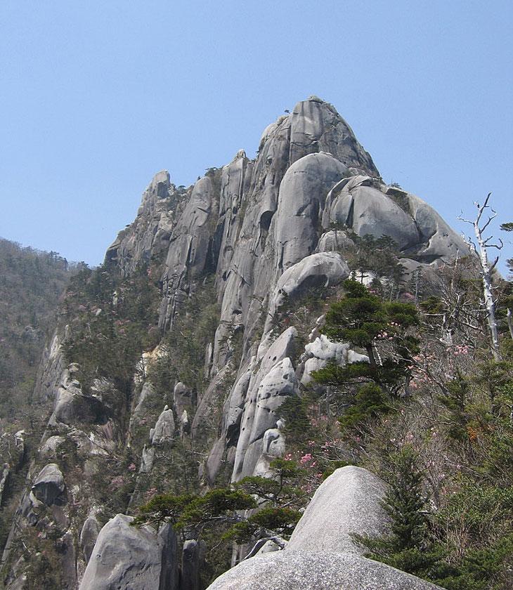 大崩山の険しい岩峰