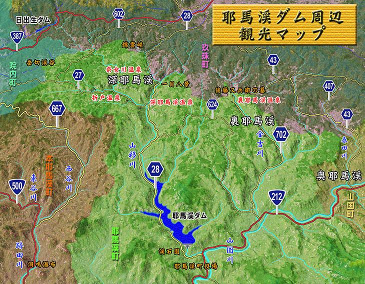 耶馬溪ダム上流方面の地図