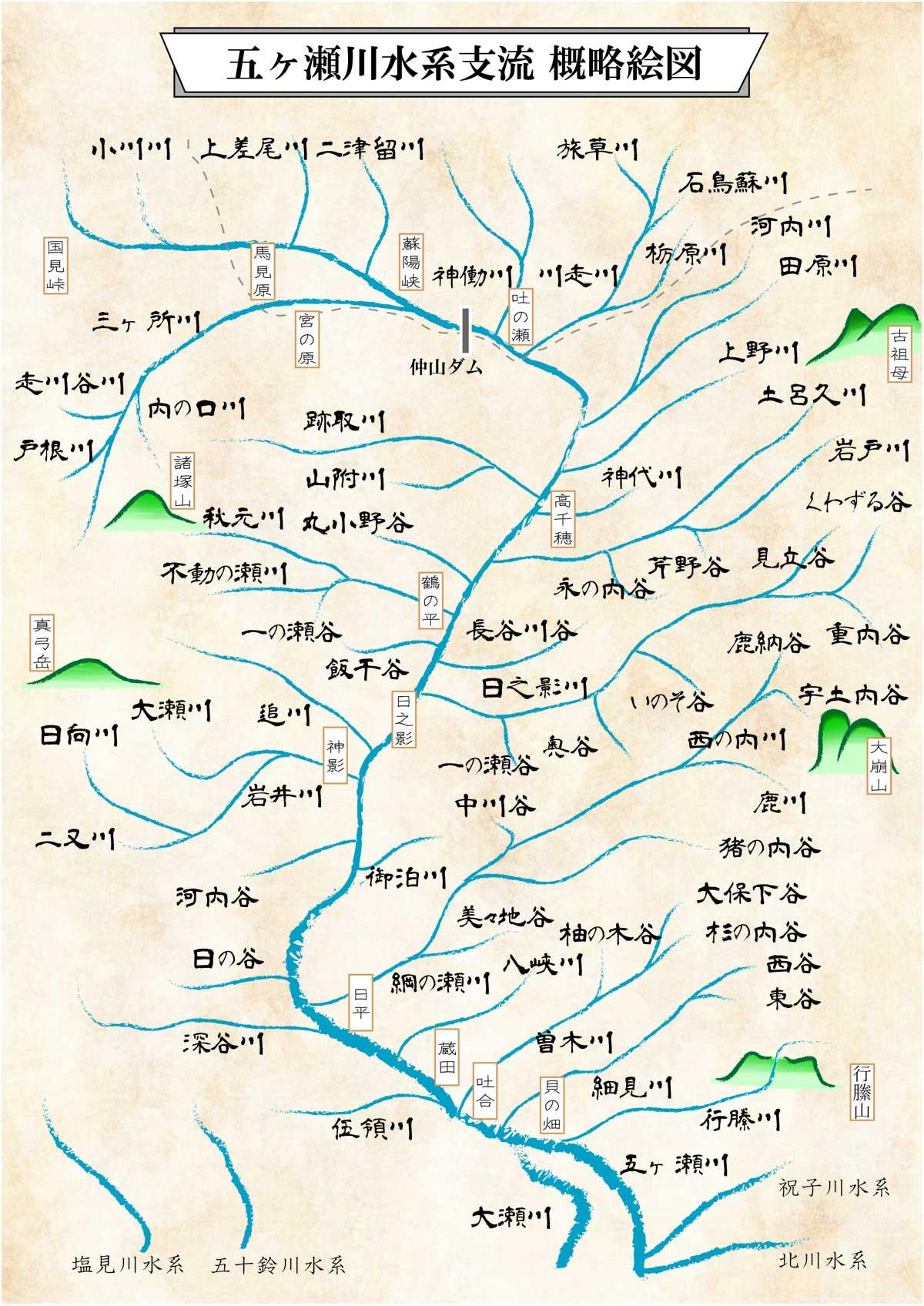 五ヶ瀬川水系 支流概略地図