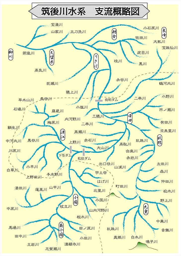 筑後川水系 支流概略地図