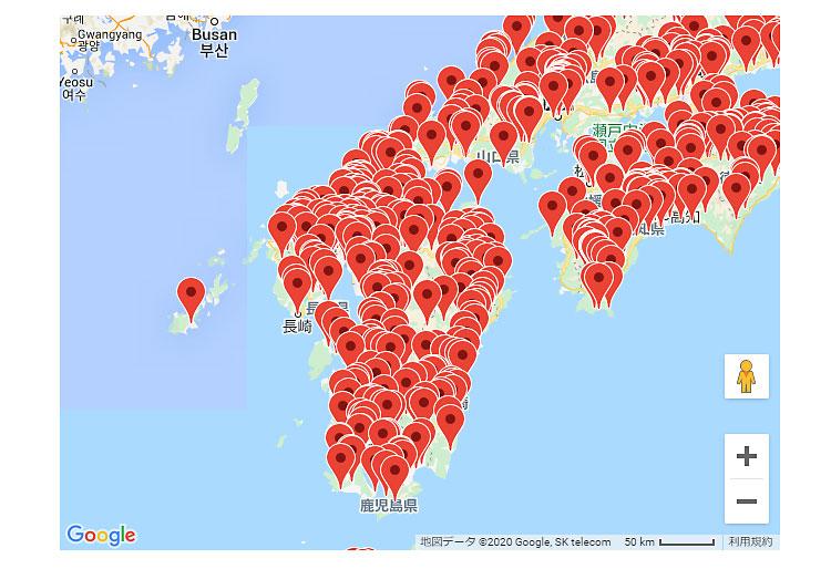 九州方面の水難事故発生の位置情報