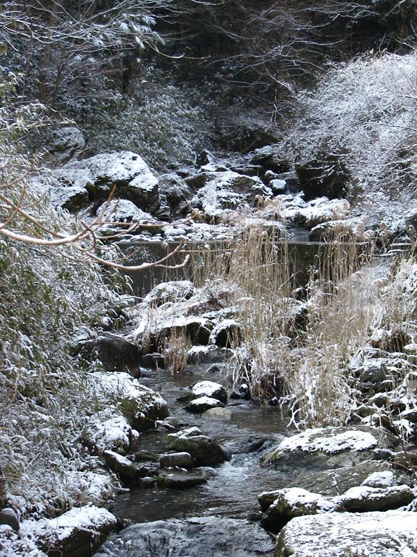 雪残りの川