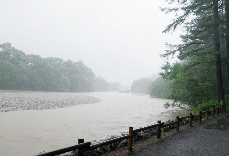 大雨で増水した河川